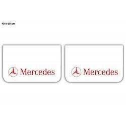 Paire de bavettes MERCEDES Blanche/Rouge