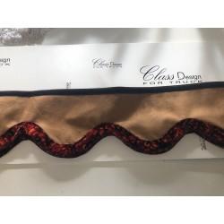 Frange marron alcantara / Rebord danois rouge